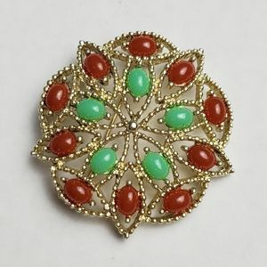"""Vintage Sarah Coventry Acapulco Flower Brooch 1969 Red Green Cabochon Broach 2"""""""